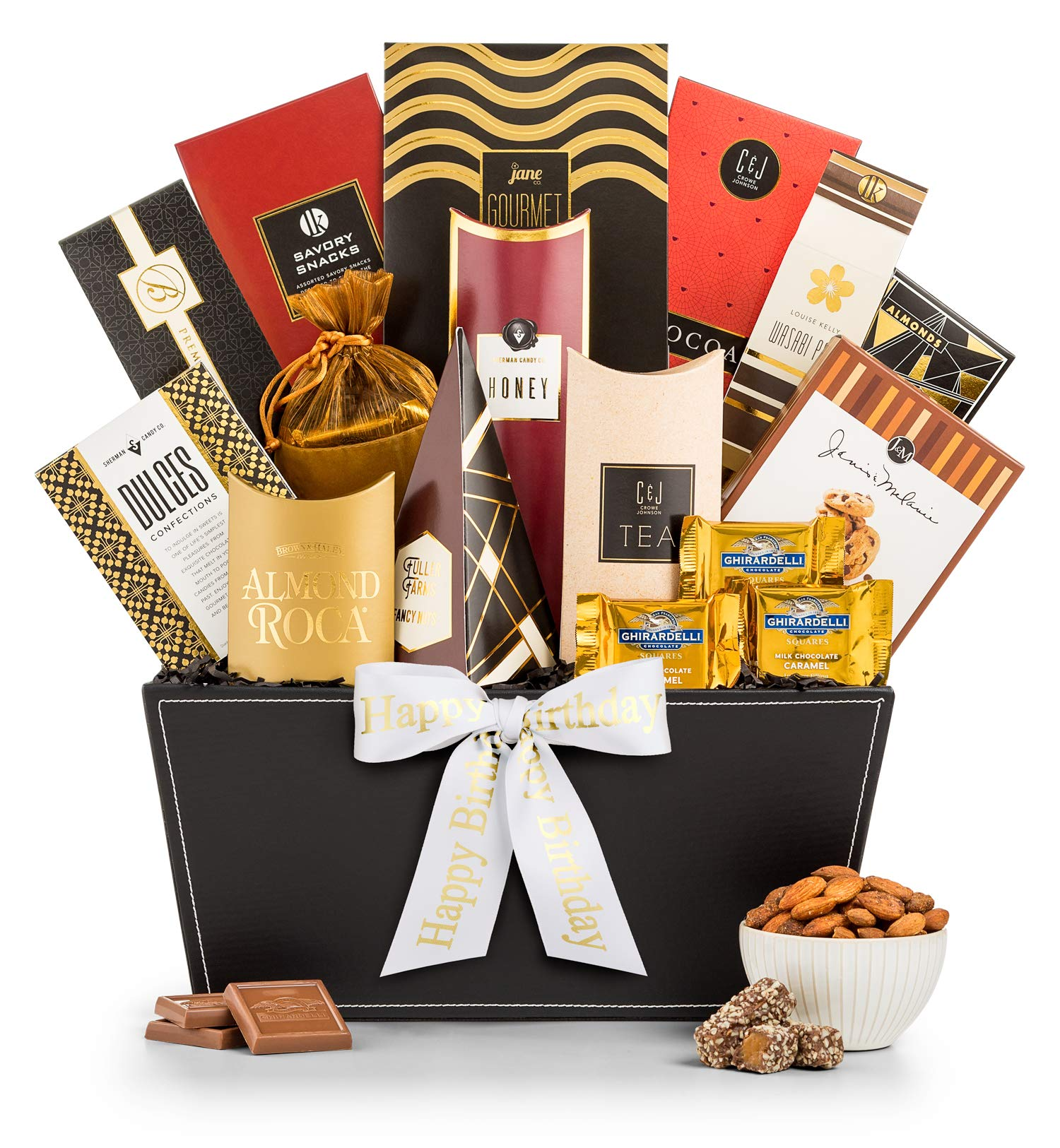 CDM product GiftTree Broadway Gourmet Happy Birthday Gift Basket   Premium Chocolate, Gourmet Cookies, Mixed Nuts & More   Perfect Way to Celebrate Their Special Day big image