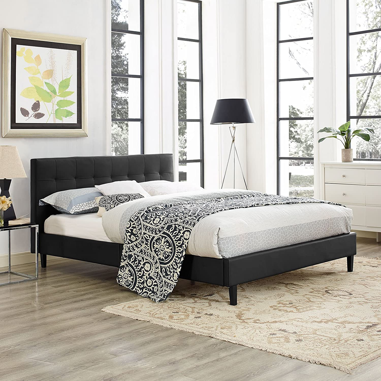 Modway Linnea Upholstered Black Faux Leather Queen Platform Bed with Wood Slat Support