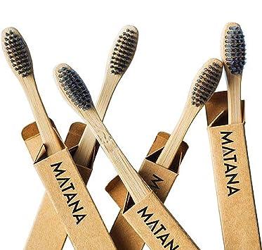 5 Premium Cepillos de Dientes de Bambú, Niños| Blanqueamiento de ...