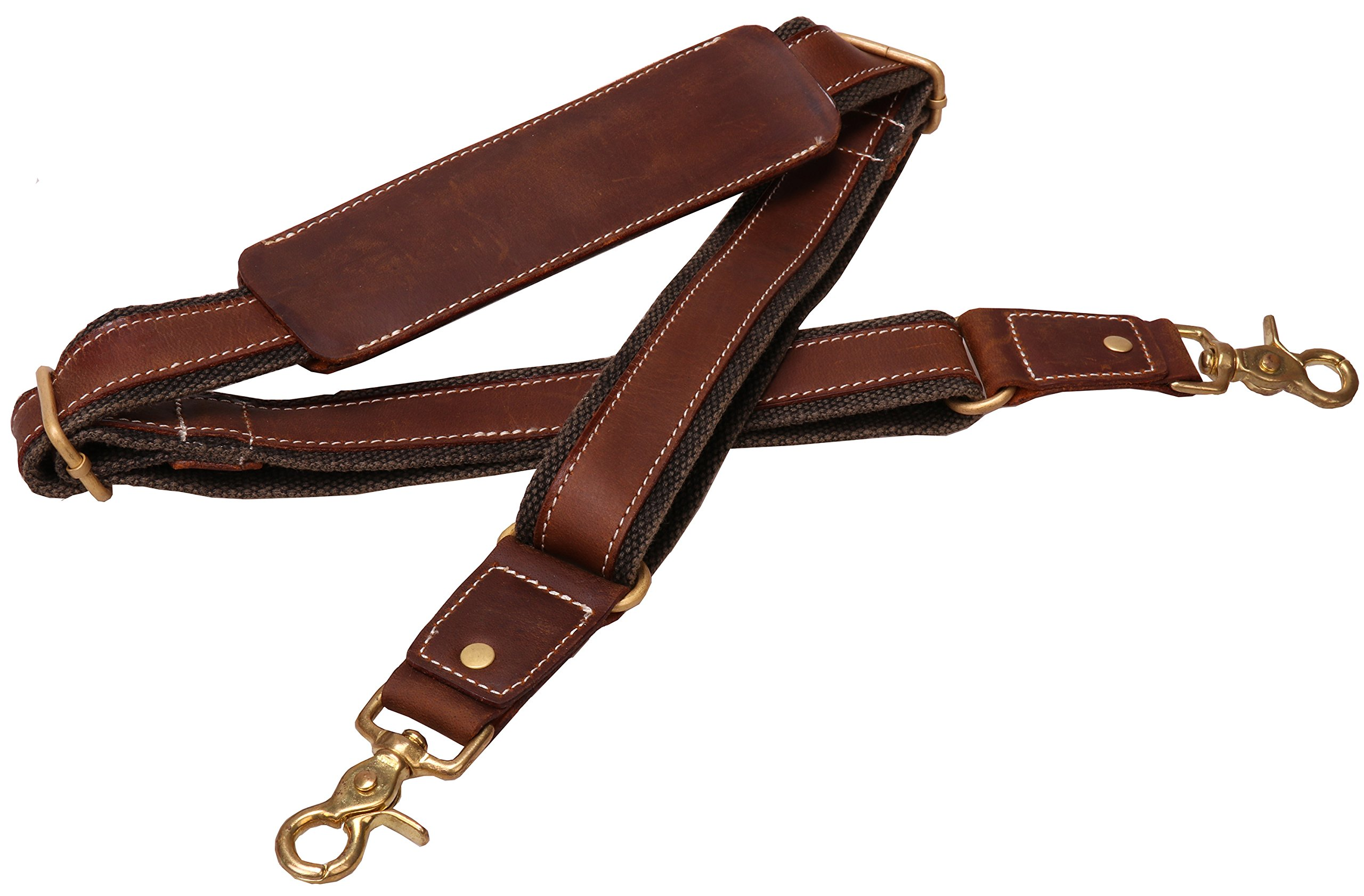Iblue Genuine Leather Padded Shoulder Strap For Briefcase Luggage Bag #J3 (brown 02) by IBLUE
