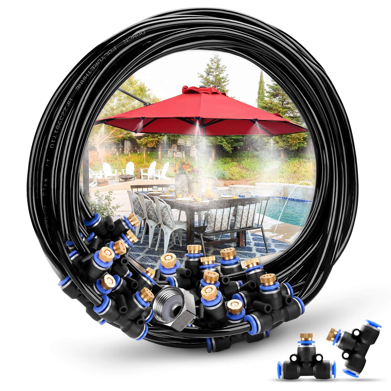 HOMENOTE Misting Cooling System 75.46FT (23M) Misting Line + 34 Brass Mist Nozzles + a Brass Adapter(3/4'') Outdoor Mister for Patio Garden Greenhouse Trampoline for waterpark by HOMENOTE