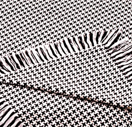 Amazon Simply Home Black Hanover Houndstooth Eco40Cotton Afghan Mesmerizing Black And White Houndstooth Throw Blanket