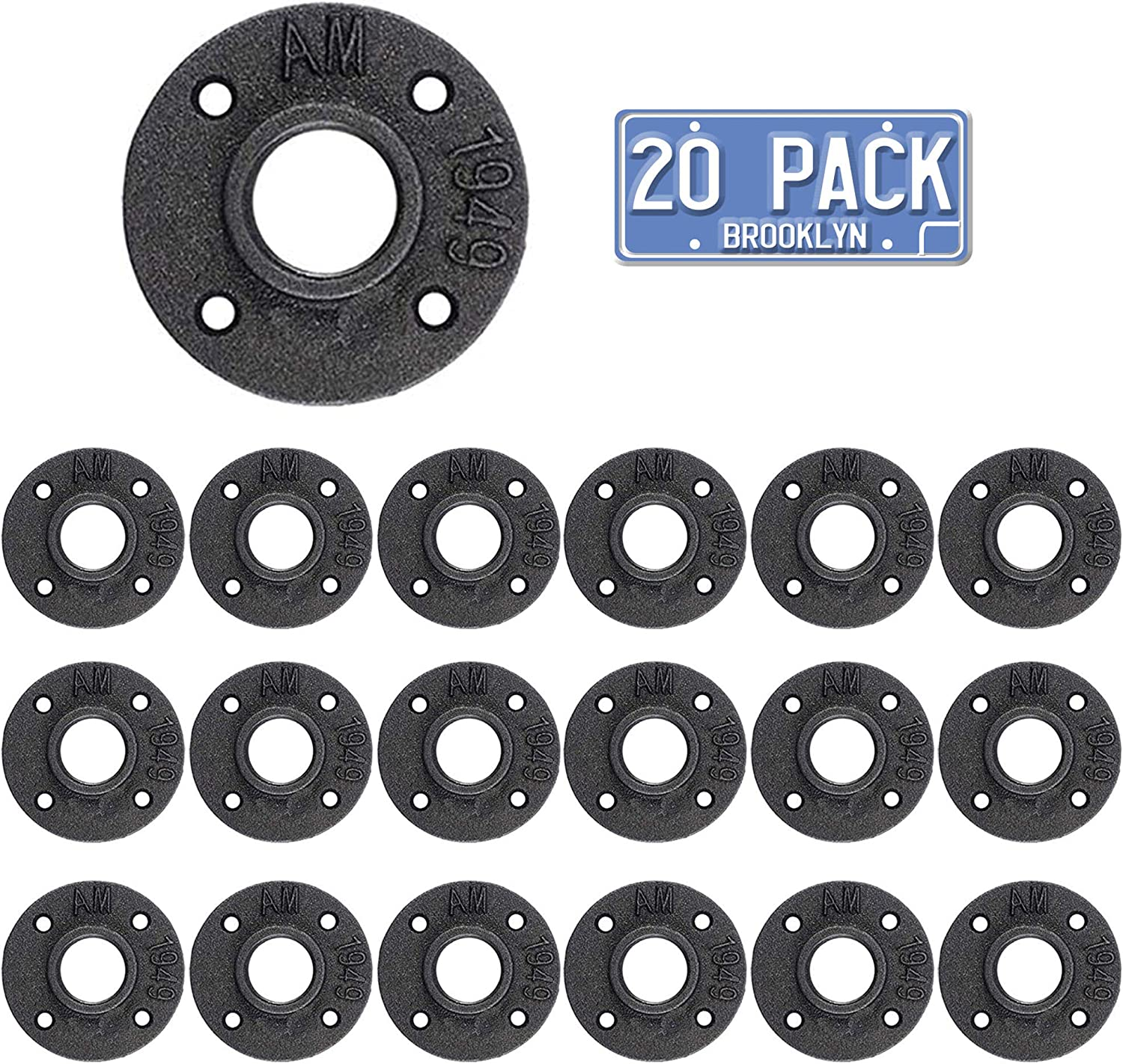 Brooklyn Pipe 20 Pack 1/2 Floor Flanges 4 Bolts | 1/2 Inch Threaded Hole Flange | Iron Metal Flange | Industrial Pipe Decor | Iron Flange Pipe Fittings