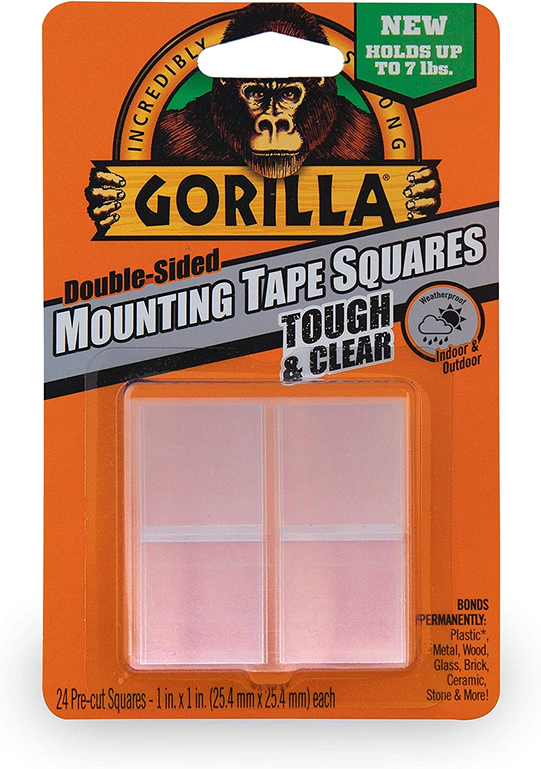 """Gorilla Tough & Clear Double Sided Mounting Tape Squares, 24 1"""" Pre-Cut Squares, Clear, (Pack of 1)"""
