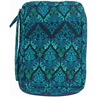 DIWI Medium Sizes 8.75 X 6.25 X 2.5 inches Bible Cover Good Book Cover Quiltd Cotton Quilted Fabric (M, 1707D Green Fence)