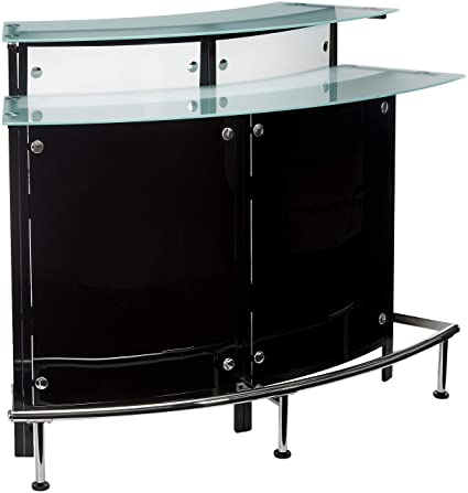 Amazon Com Arched 1 Shelf Bar Unit With Glass Counter Tops Glossy