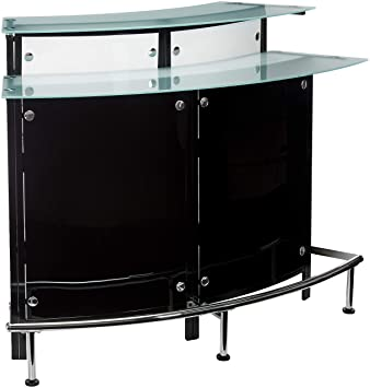 Home Bar Unit Modern Style Black And Chrome Finish Metal Curved