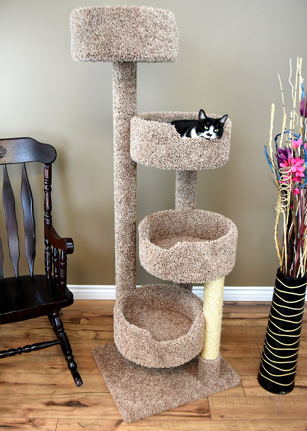 New Cat Condos Large Cat Tower with 4 Easy to Access Spacious Perches, Brown