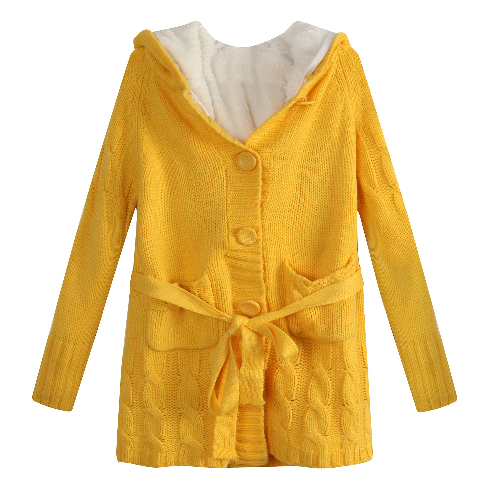 Richie House Big Girls' cardigan sweater with short floss lining RH1009-B-7/8