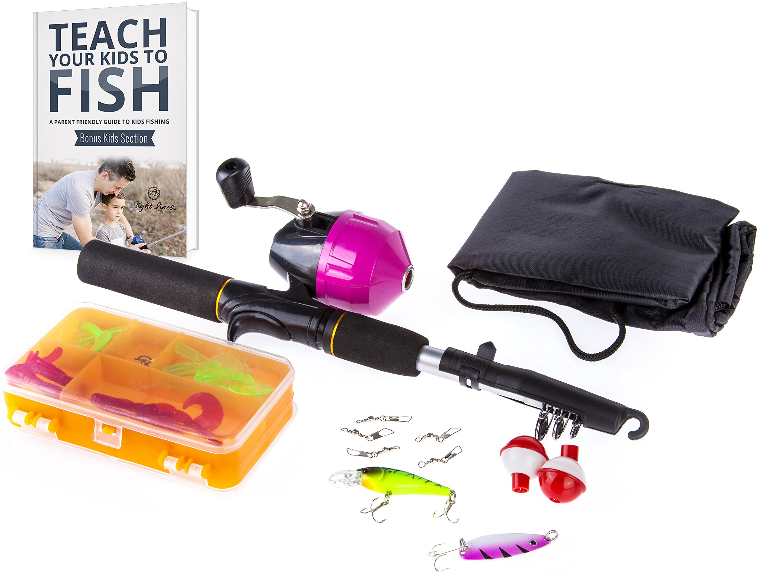 Tightlines Kids Fishing Rod For Girls All In One Combo Set Pink Youth Fishing Kit Includes Collapsible Rod Reel Tackle Box Travel Bag And Ebook Perfect Kids Fishing Pole Gift Kit