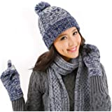 DTBG - Guantes de punto y bufanda para invierno, cálidos, gruesos y a la moda, guantes 3 en 1, para clima frío para…