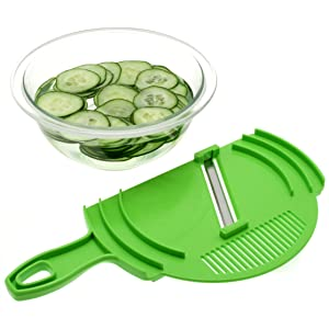 Suncraft Mandoline Slicer with Strainer and Guard, Green