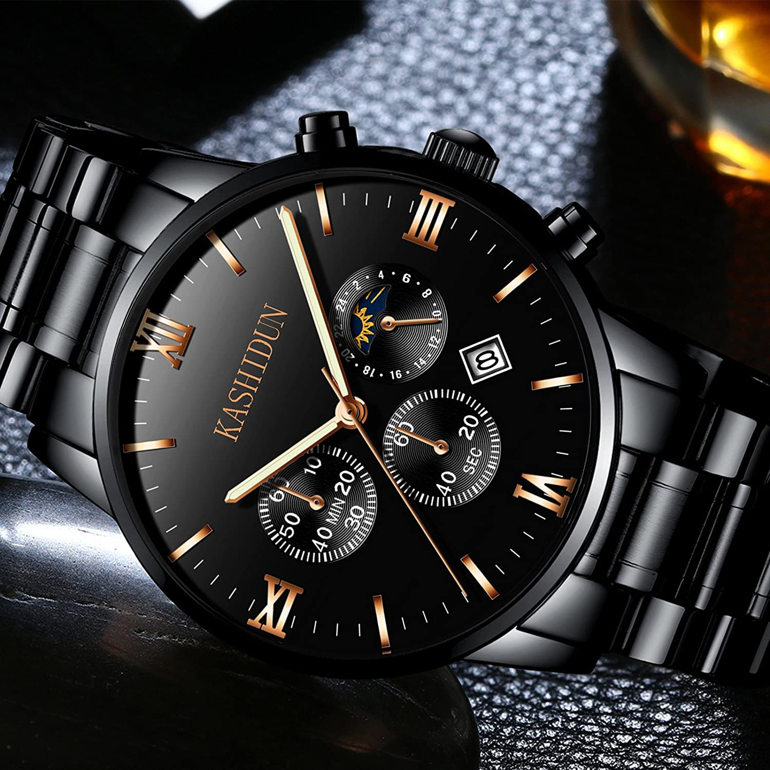 Amazon.com: KASHIDUN Mens Watches Luxury Sports Military Quartz Wristwatches Waterproof Chronograph Black Watches ZH-JzHG: Watches