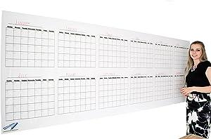 "Dry Erase Wall Calendar - Blank 12 Month Large Wall Calendar- 36""x96"" Giant Office Calendar"