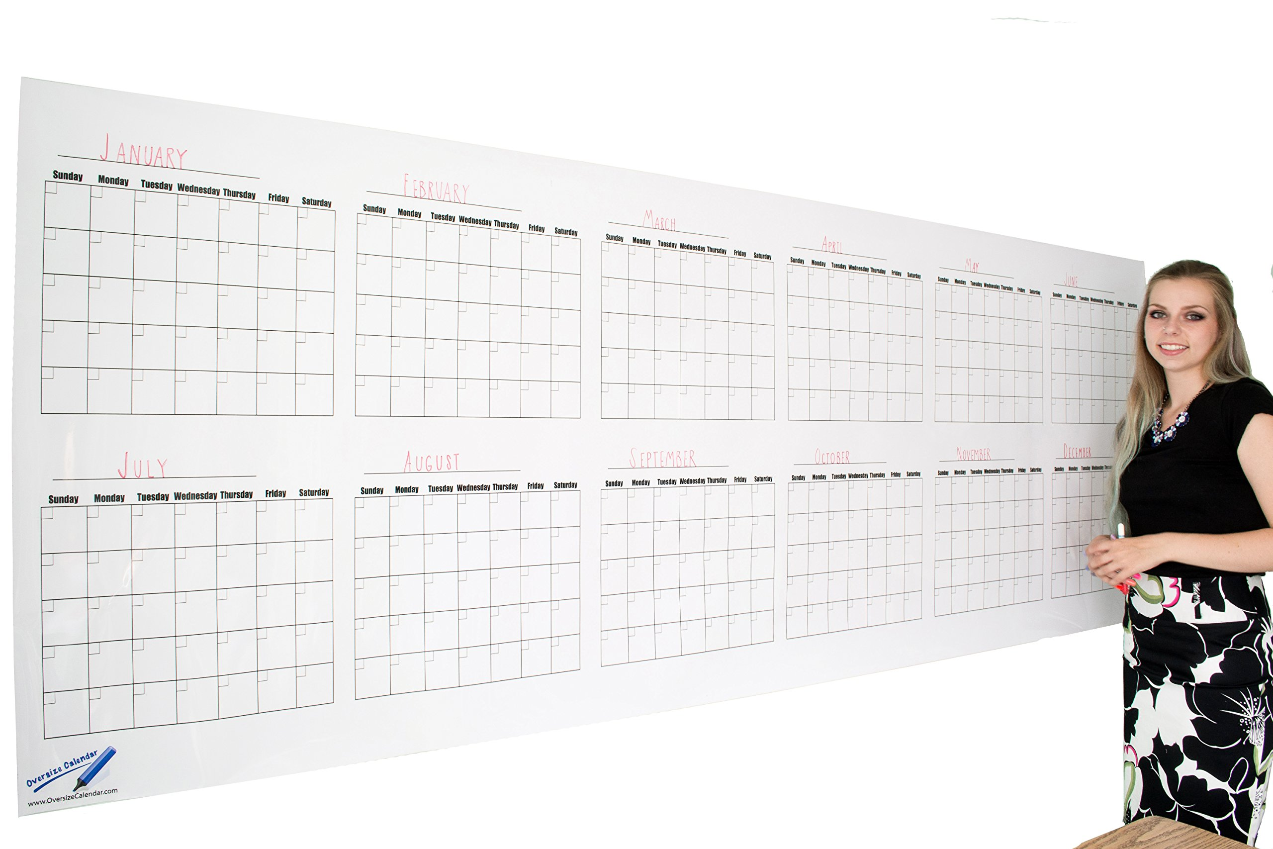 Dry Erase Wall Calendar - Blank 12 Month Large Wall Calendar- 36''x96'' Giant Office Calendar