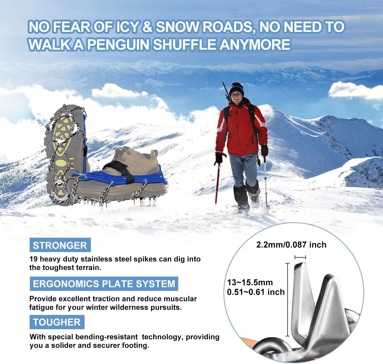 Unigear Crampones Ligero de Nieve Tracción de Hielo 19 Puntas ...