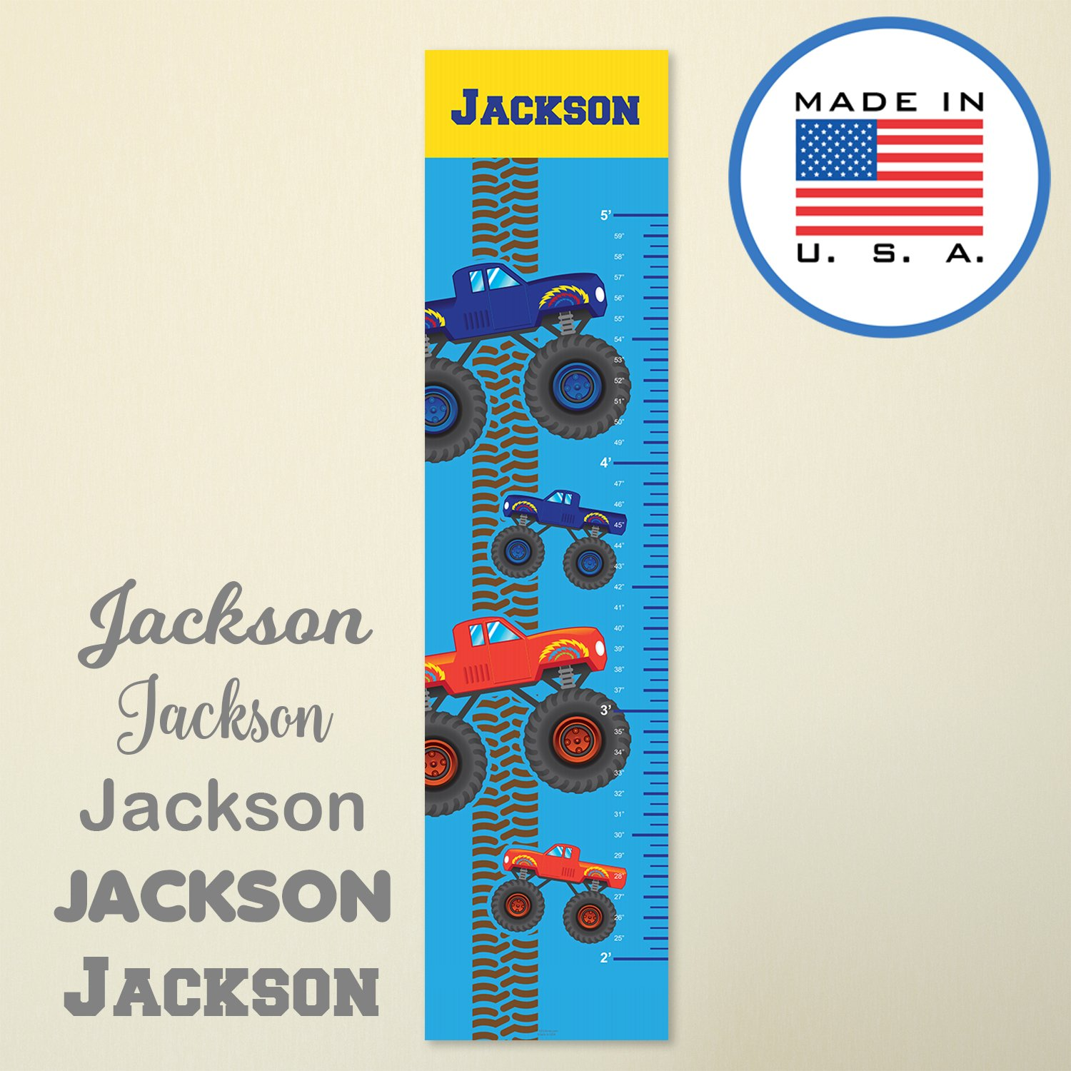 321Done Personalized Hanging Growth Chart Monster Trucks with Name, Kids Height Ruler Vinyl Banner, Boys Nursery Wall Decor, Red Blue Truck, Made in USA
