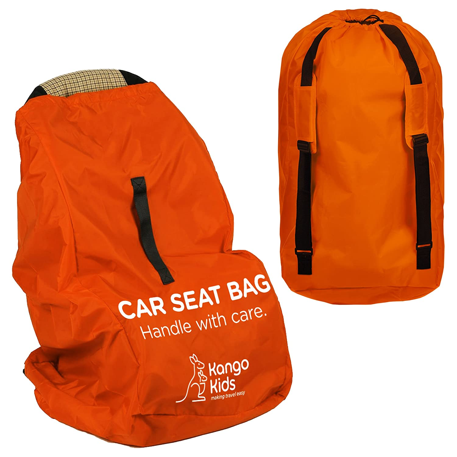 Car Seat Travel Bag -Make Travel Easier & Save Money. Carseat Carrier for Airport - Protect your Child's CarSeats & Stroller from Germs & Damage. Durable, Easy to Carry Padded Backpack KangoKids KangoKidsCarSeat