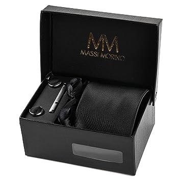 ea1ffa1136b4a Massi Morino ® Set Cravate Homme (avec Mouchoir + Boutons de Manchette +  épingle à Cravate) avec Coffret Cadeau