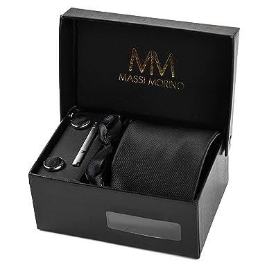 3b72bffe207b Massi Morino ® Mens Designer Tie - Box Set with handkerchief, cufflinks and  tiepin,