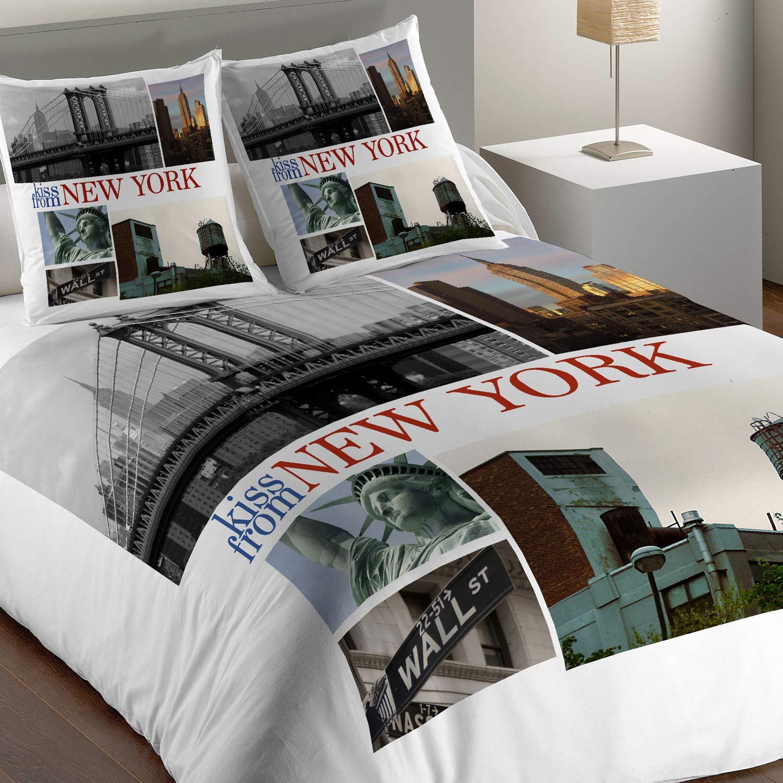 Les Ateliers du Linge Parure de lit 1 personnes big apple imprime 200x140 cm