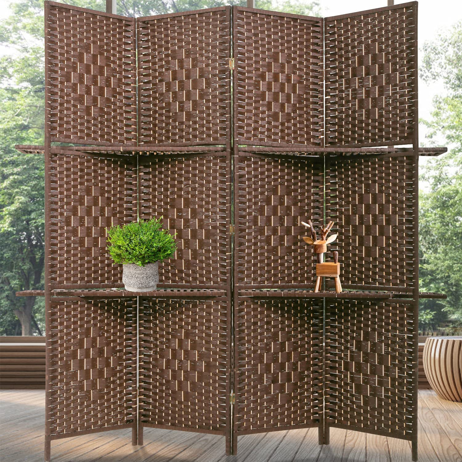 Room Divider 4 Panels Wood Frame Foldable Portable Separator Screen Folding Wall Dividers with Removable Storage Shelves for Home Living Room,Brown