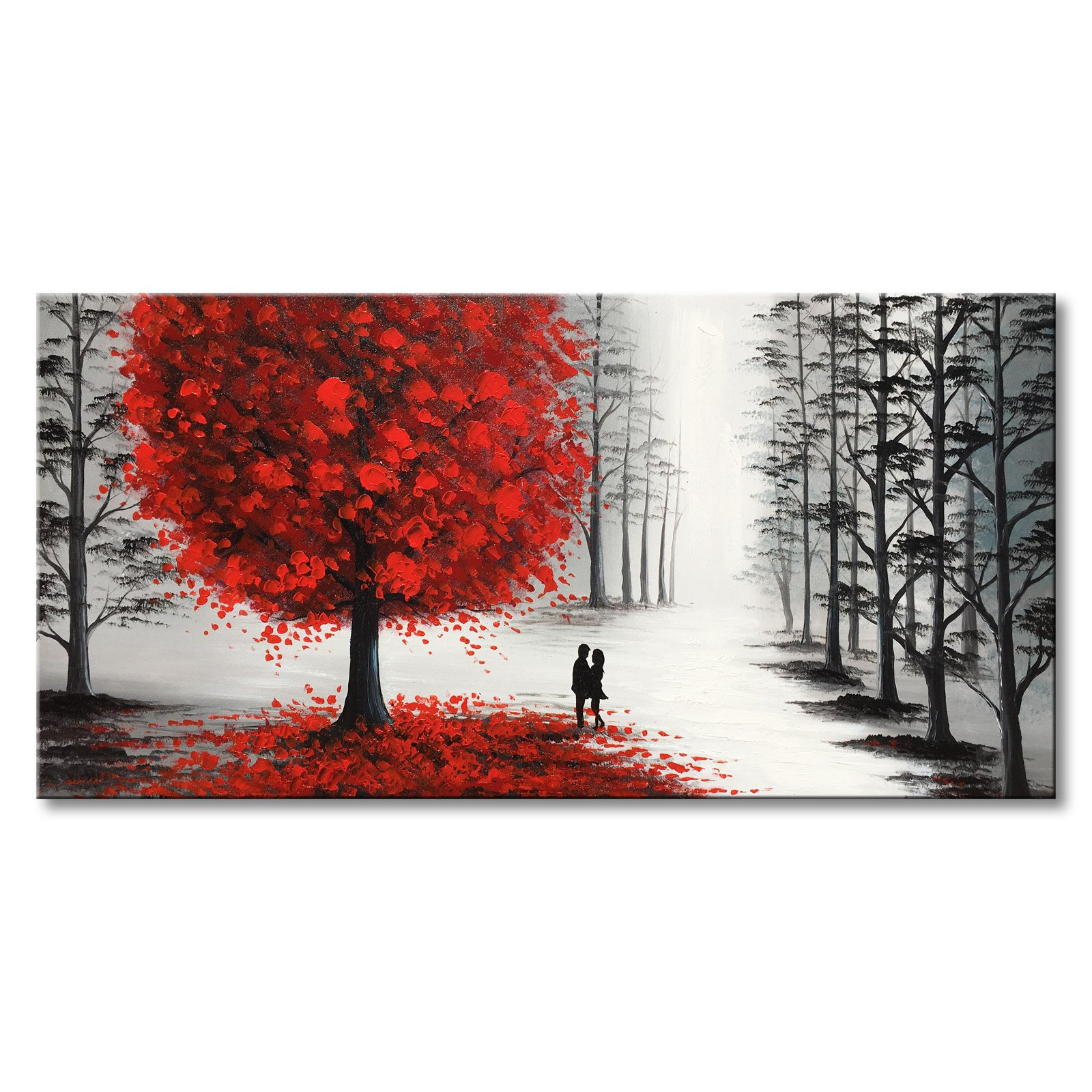 Large Hand Painted Black and White Oil Painting Landscape Canvas Wall Art with Red Tree for Living Room