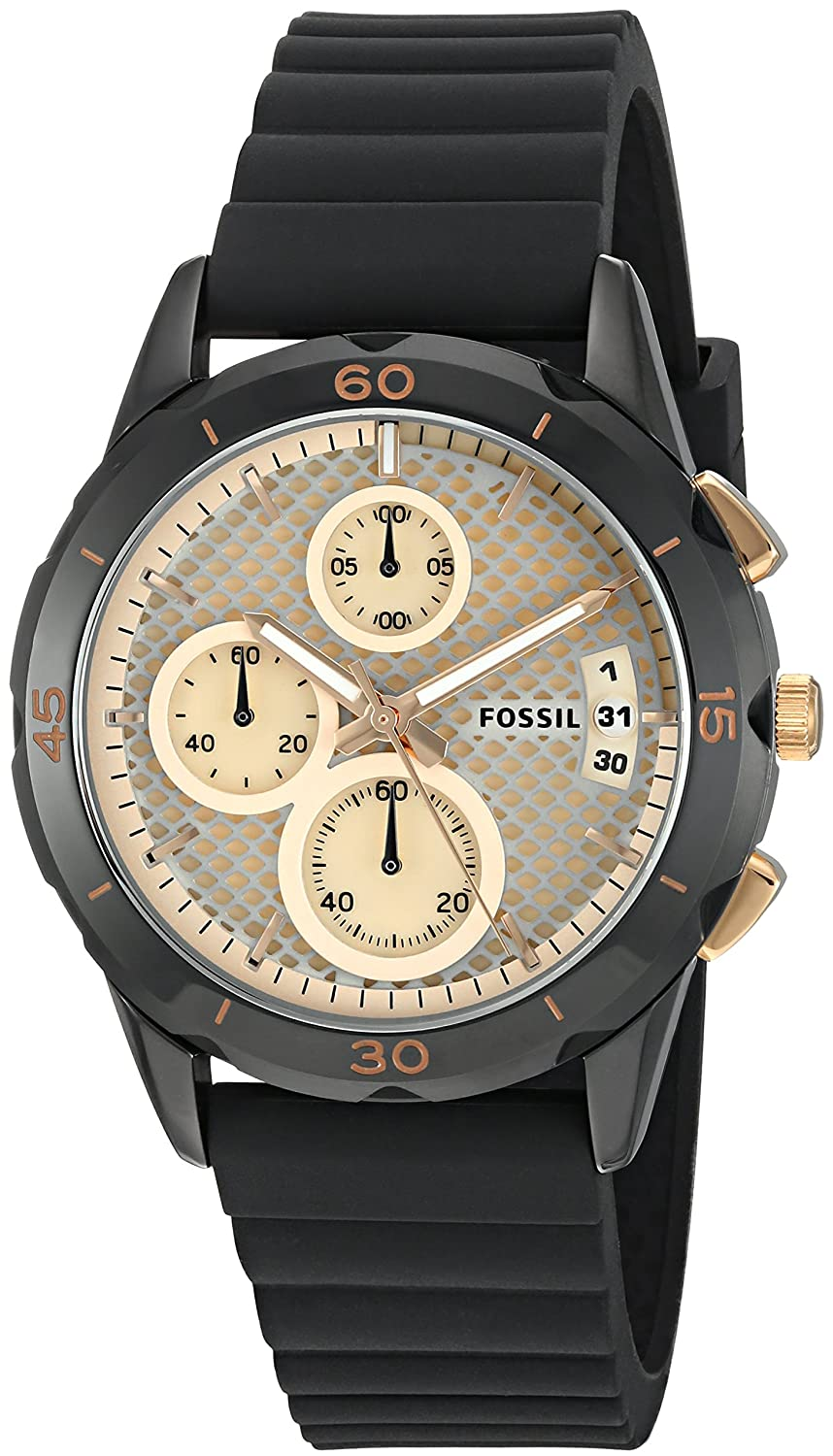 Fossil Womens Es3984 Modern Pursuit Chronograph Black Silicone Watch Watches