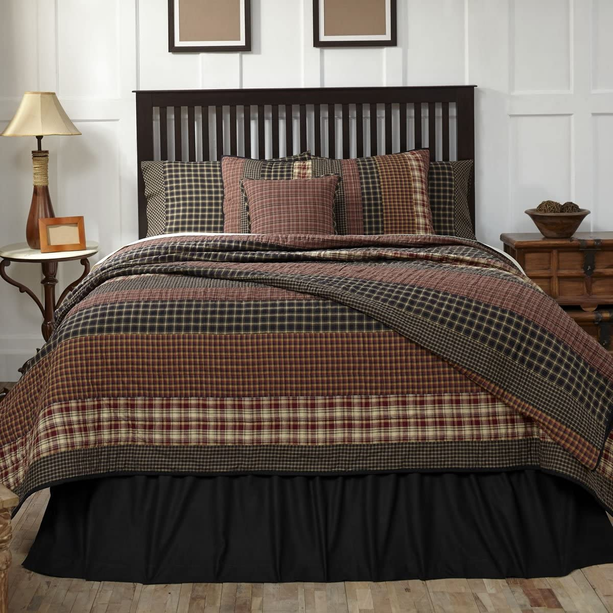 VHC Brands Rustic & Lodge Bedding-Beckham Quilt, Queen, Rust Red