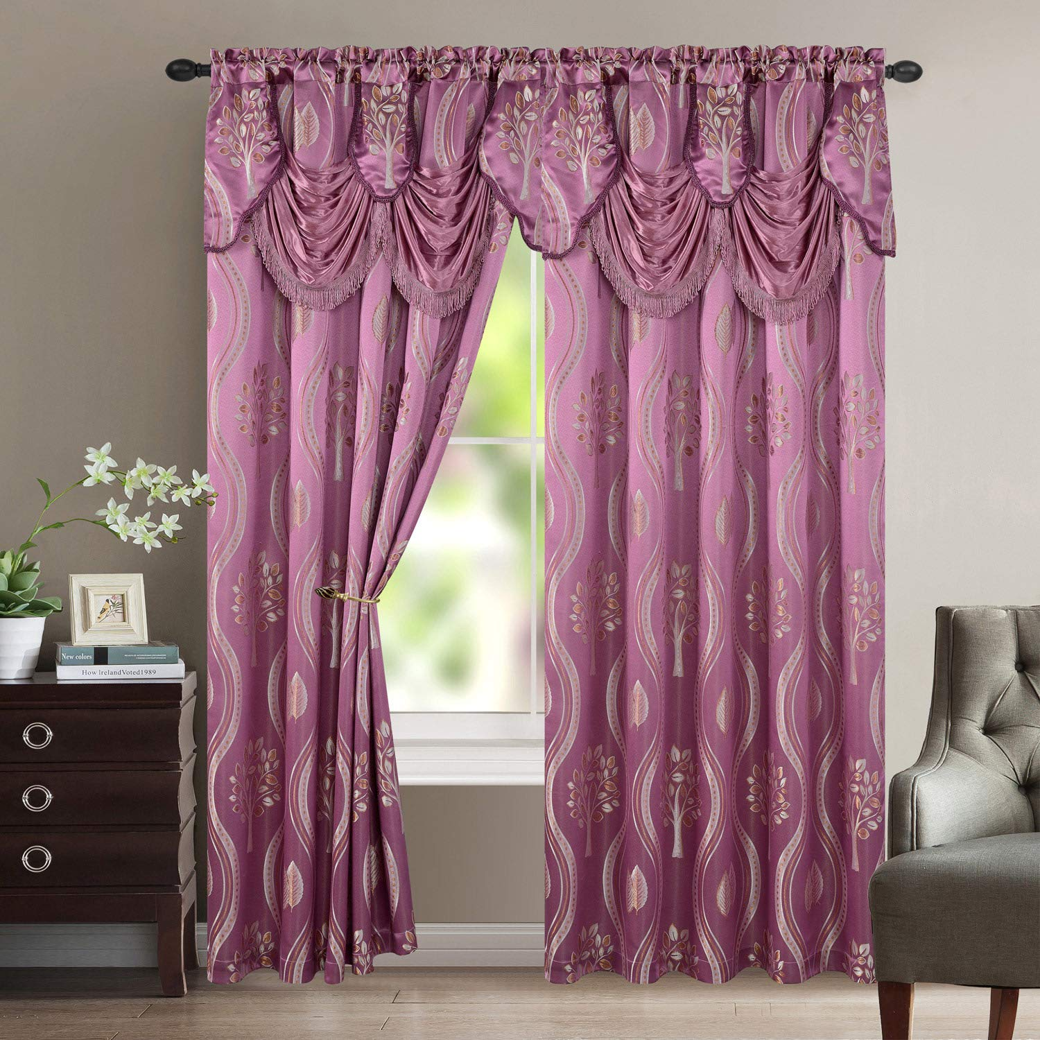 Luxury Home Textile Aurora Tree Leaf Jacquard Window Panel with Attached Valance, Premium Quality, Beautiful Tree Leaf Design, Vibrant Colors, 100% Polyester, 54x84 Inches Per Panel, 2-Pack (Lilac) by Luxury Home Textile
