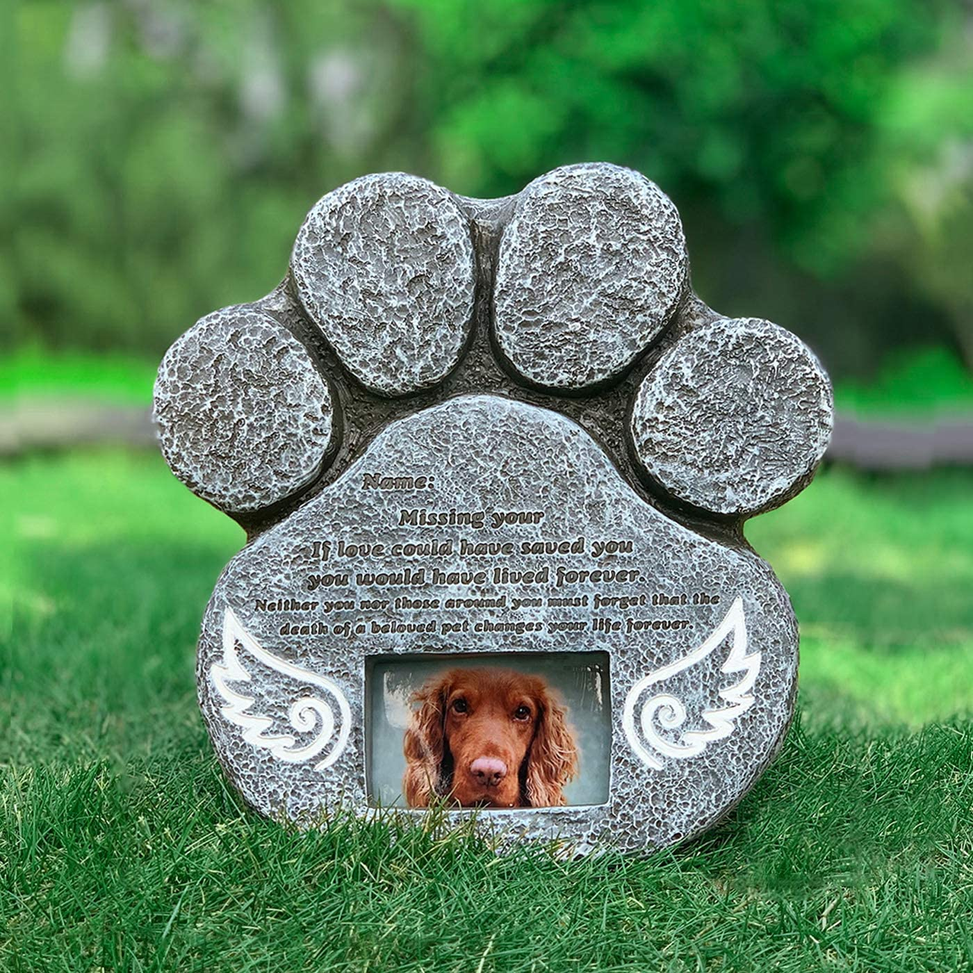 Re-Call Pet Tombstone Dog Paw Shape Engraved Angel Wings Dog Memorial Stone with Waterproof Photo Bag in Lawn and Garden