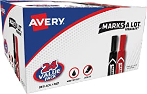 Avery Marks-A-Lot Permanent Markers, Regular Desk-Style Size, Chisel Tip, Water and Wear Resistant, 24 Assorted Markers (98187)