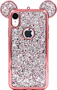 iPhone XR Case, MC Fashion Cute Sparkly Bling Glitter 3D Mickey Mouse Ears Soft TPU Rubber Case Teens Girls Women for Apple iPhone XR (2018) 6.1-Inch (Rose Gold)