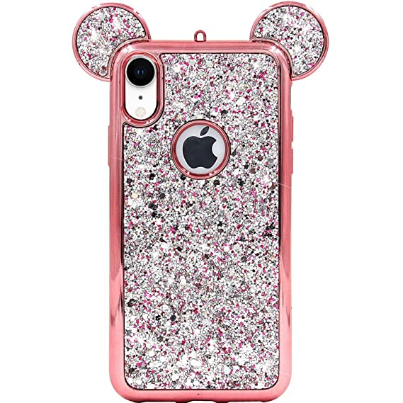 check out 1cbc0 02c21 iPhone XR Case, MC Fashion Cute Sparkly Bling Glitter 3D Mickey Mouse Ears  Soft TPU Rubber Case Teens Girls Women for Apple iPhone XR (2018) 6.1-Inch  ...