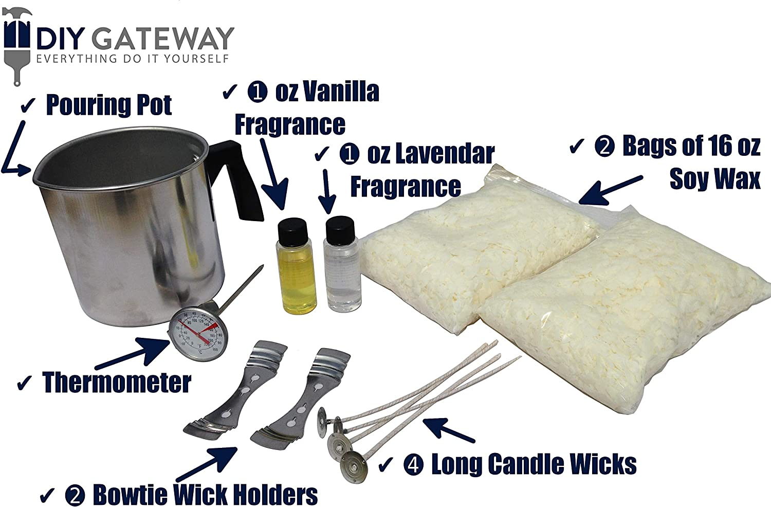 Wicks Thermometer /& Pitcher Vanilla /& Lavender Scents Soy Candle Making Kit /& Supplies: Complete DIY Set with 2 LB Soy Wax Holders
