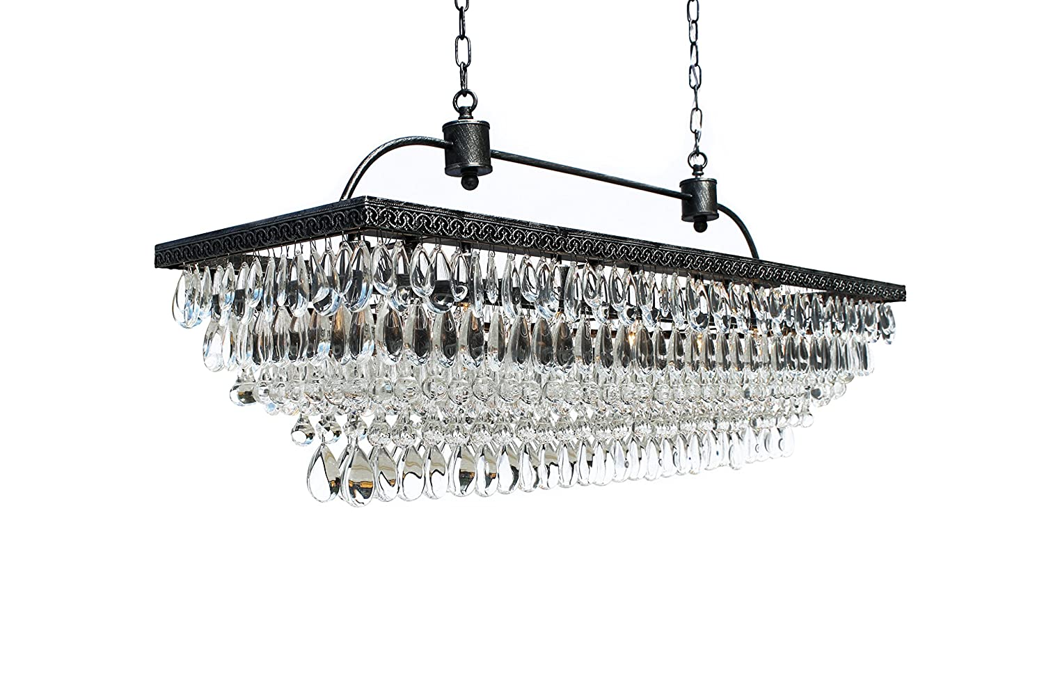 The weston 40 inch rectangular glass drop crystal chandelier the weston 40 inch rectangular glass drop crystal chandelier antique silver amazon mozeypictures Images