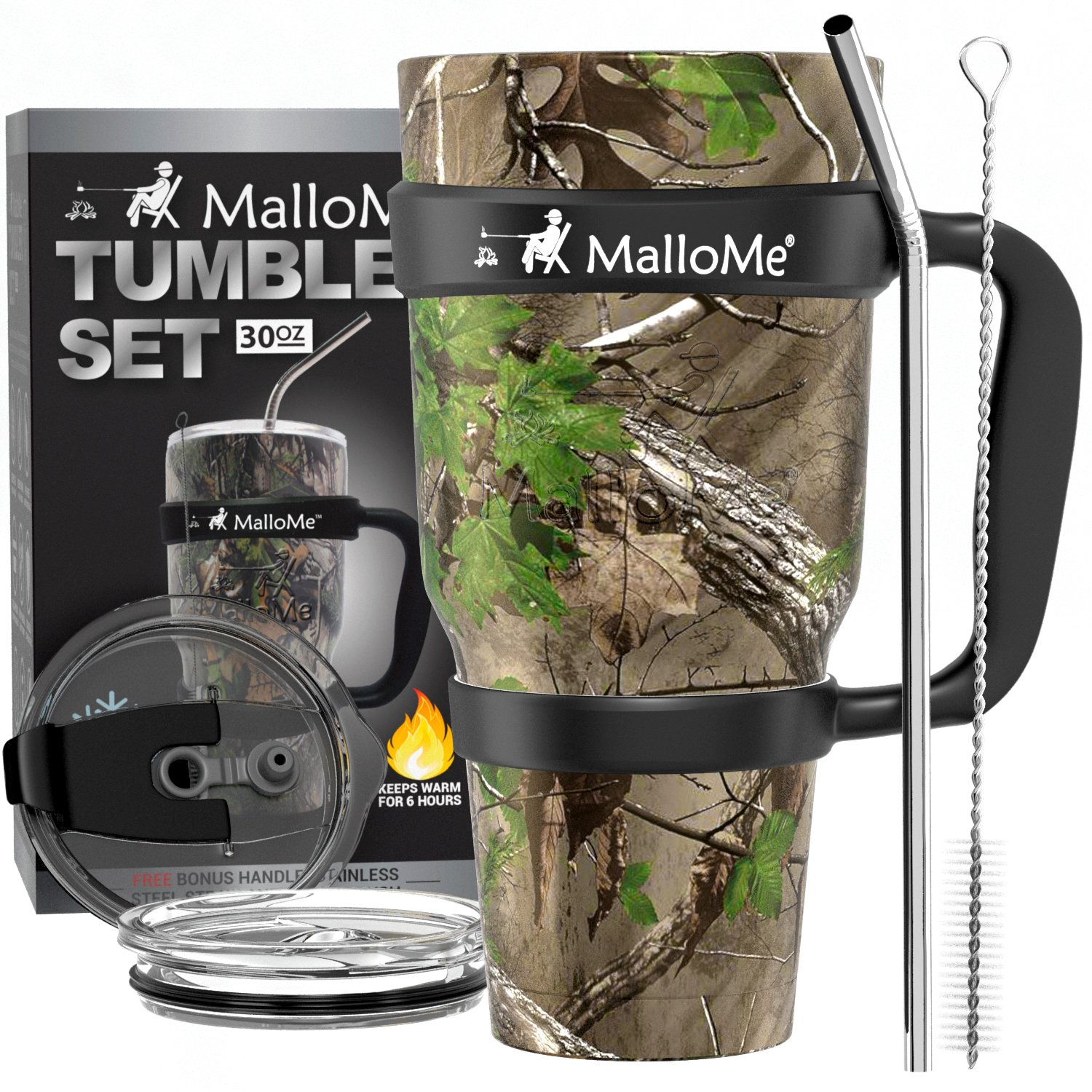 MalloMe Stainless Steel Vacuum Insulated 6-Piece Tumbler Set [Straw, Brush, Handle, 2x Lid Included] Forest Floor Camouflage 30 oz