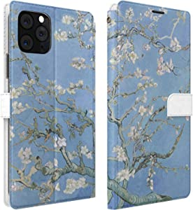 Mertak Wallet Case Compatible with iPhone 11 Pro Max SE 10 Xr Xs X 8 Plus 7 6s Floral Folio Lightweight Almond Tree in Blossom PU Leather Vincent Van Gogh Flip Branch Magnetic Cover Protective