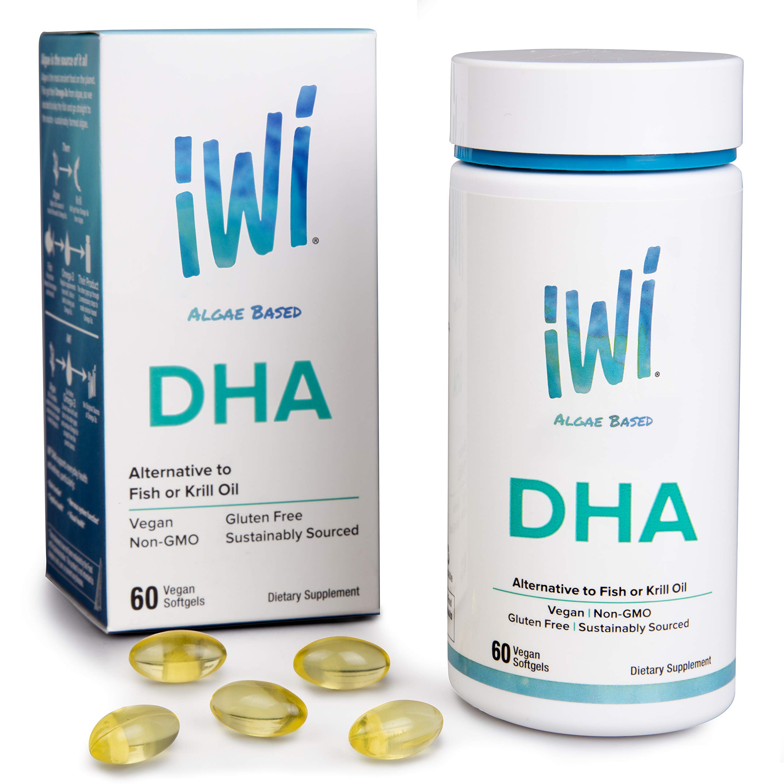 IWI Omega-3 Oil DHA - Doctor Recommended Algae Oil Soft Gel Capsules - 30 Day Supply - Better Absorption, 100% Vegan, Non GMO - Healthier Than Fish Oil - Supports Brain, Cognitive and Visual Health. by Iwi