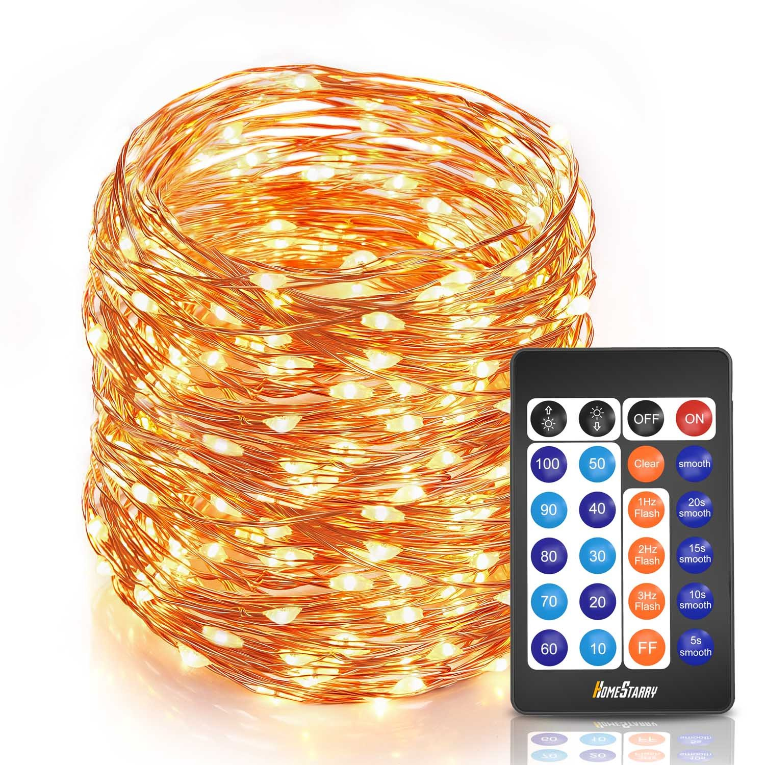 Homestarry Waterproof Decorative Outdoor String Lights 20 Ft 120 100leds Warm White Copper Wire Led Strip 12v Dc Dimmable Starry Wedding Fairy Lighting For Bedroom Home Party Christmas Tree Commercial Usewarm