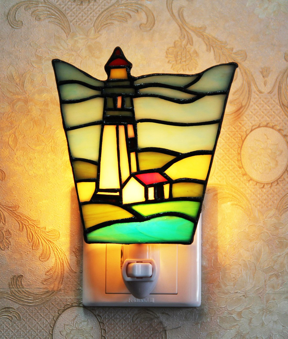 Makenier Tiffany Style Stained Glass Lighthouse Small Wall Lamp Night Light by Makenier