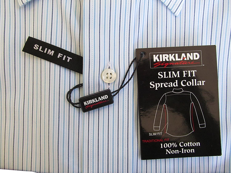 Kirkland Signature Mens Slim Fit Dress Shirt Many Size White//Blue Stripes