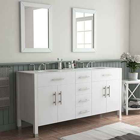 72 White Double Sink Bathroom Vanity Isabella