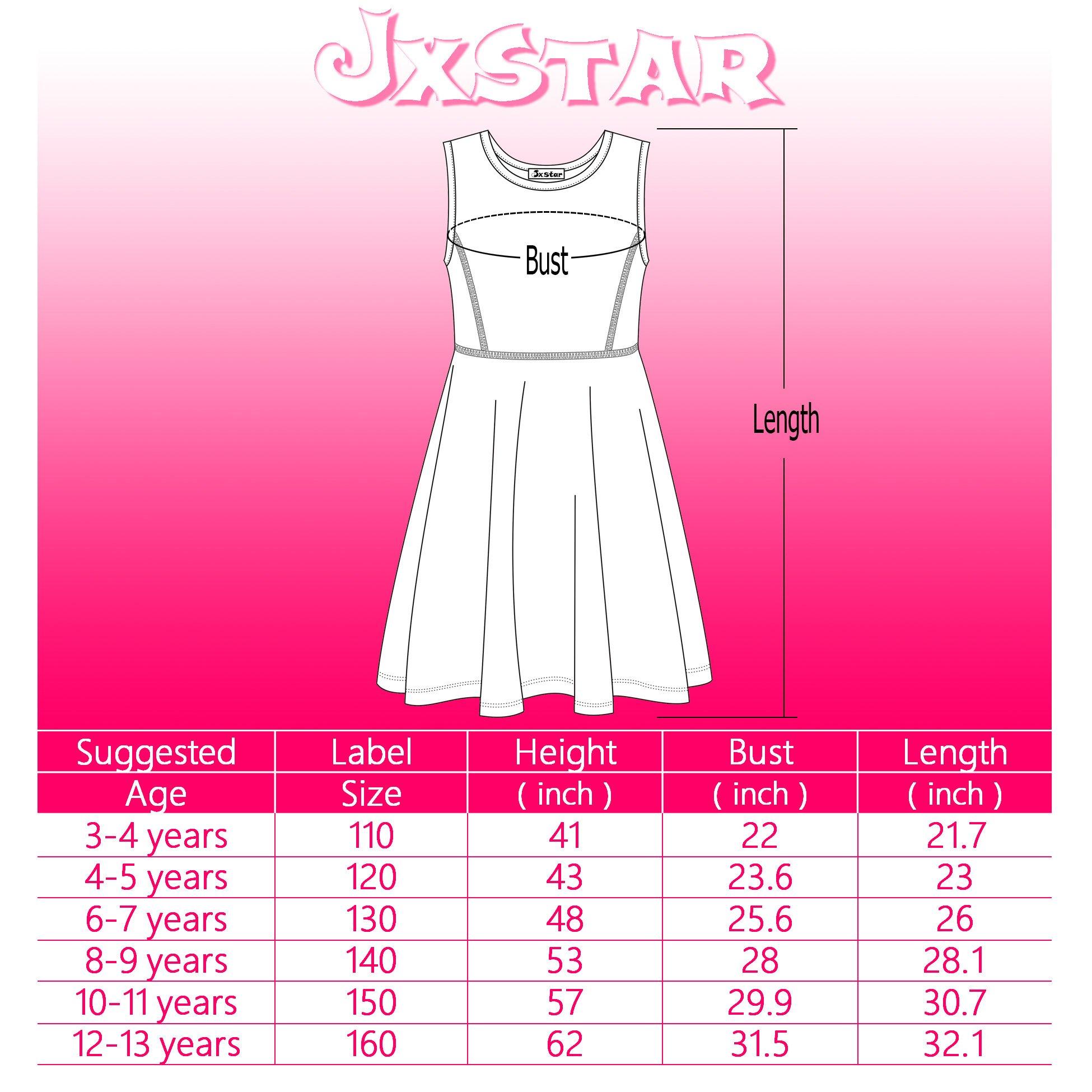 Jxstar Girl's Dress Animal Print for Skater Travel Beach Pattern Long Sleeve Dress Cat 160 Cat Fall 12-13Years Height 62in