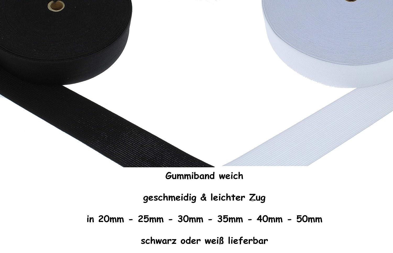 25 Meter Gummiband 25 mm schwarz