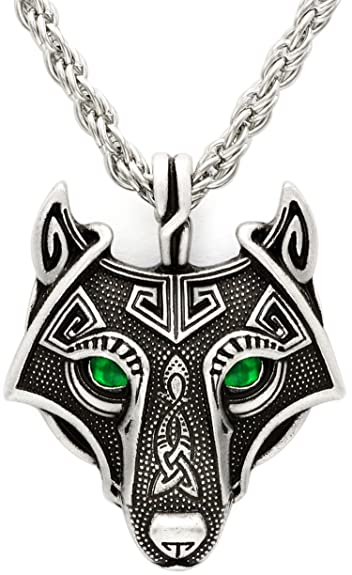 Unique antique silver emerald green eyes viking wolf pendant head unique antique silver emerald green eyes viking wolf pendant head necklace antique silver chain aloadofball Images