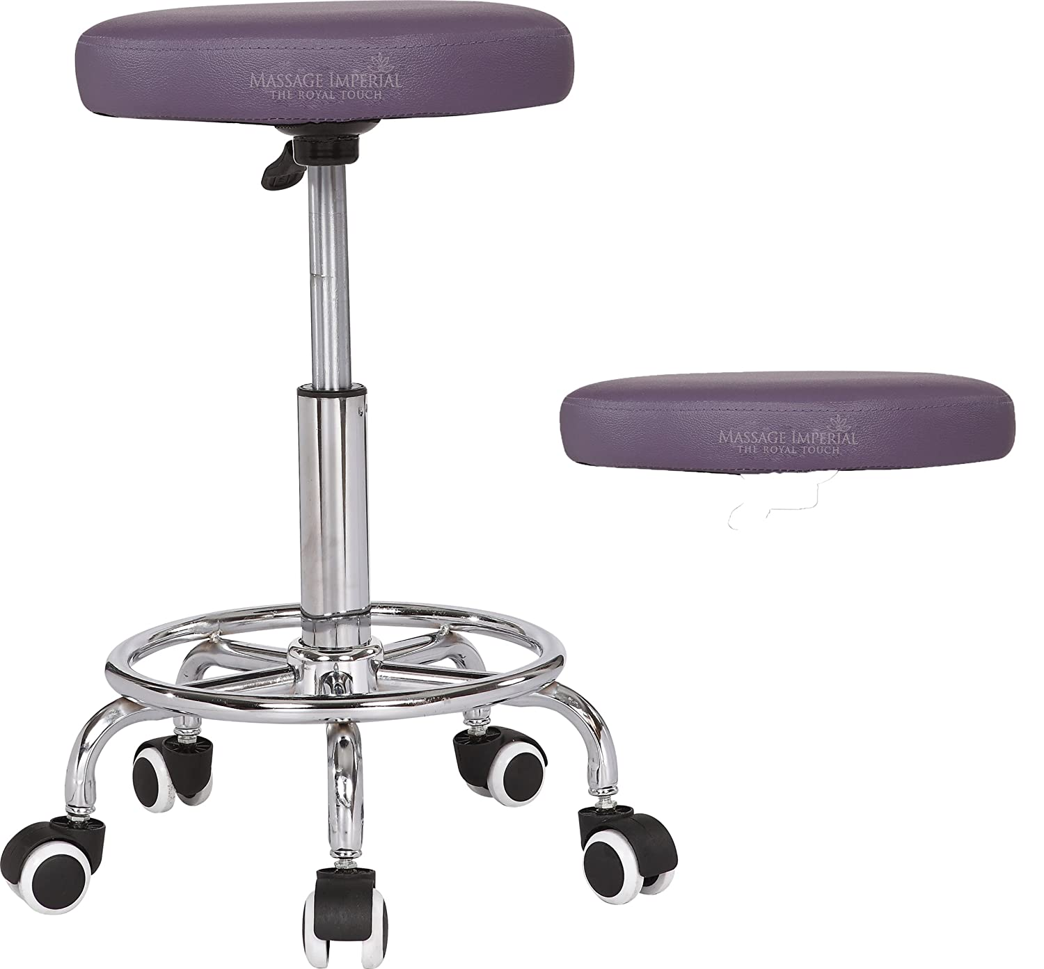 Massage Imperial® Rio Chrome Gas Lift Massage Stool Beauty Therapy Reiki Height Adjustable Salon Swivel Manicure Tattoo Stools Chair Portable Massage TABLE - Purple C-11 RIO