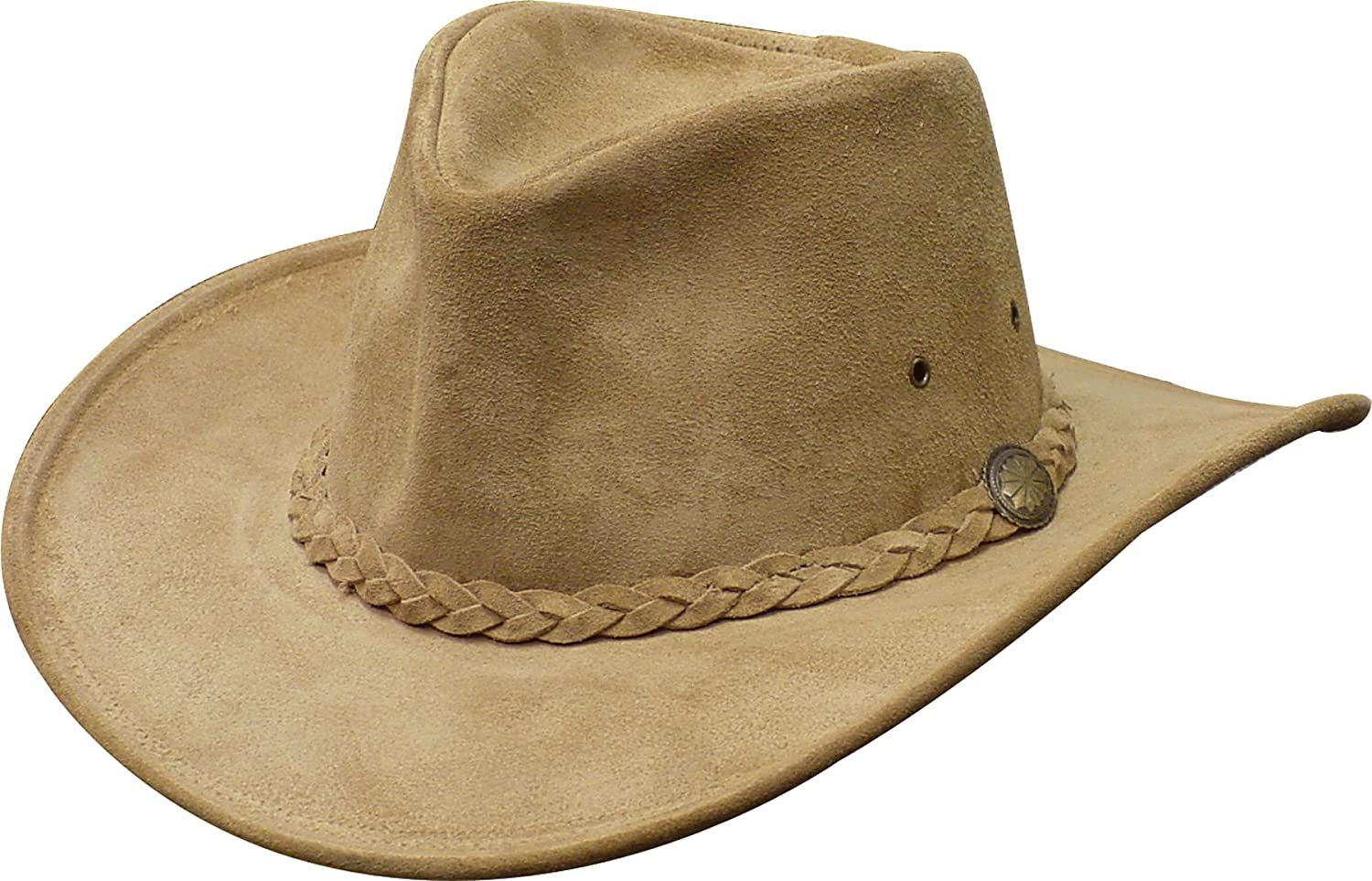 Henschel Walker Packable Crushable Cowhide Suede Braided Band Hat Henschel Hats