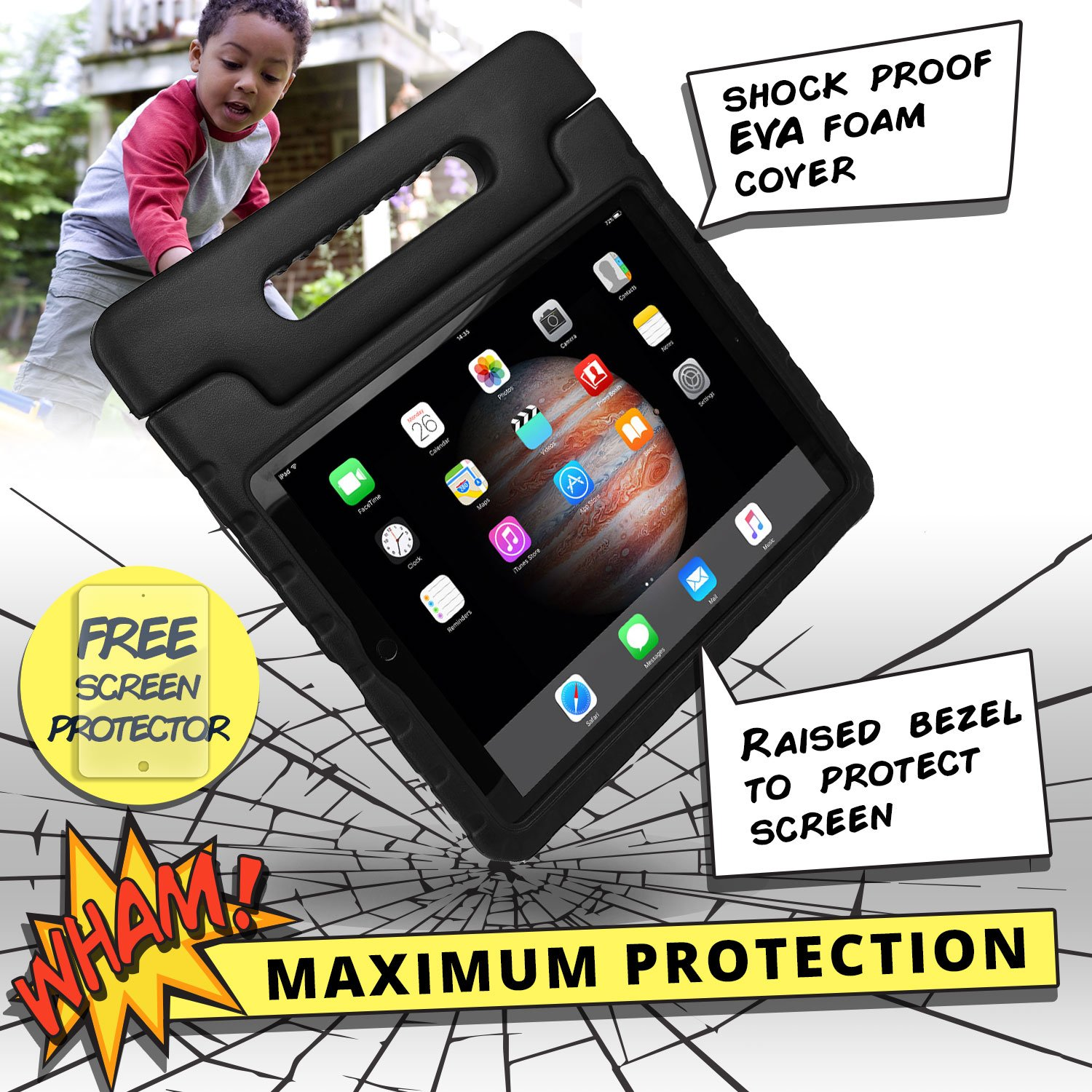 COOPER DYNAMO Shock Proof Kids case compatible with iPad Pro 12.9 | Heavy Duty Kidproof Cover for Kids | Girls, Boys, School | Kid Friendly Handle & Stand, Screen Protector | Apple A1584 A1652 (Black) by Cooper Cases (Image #4)