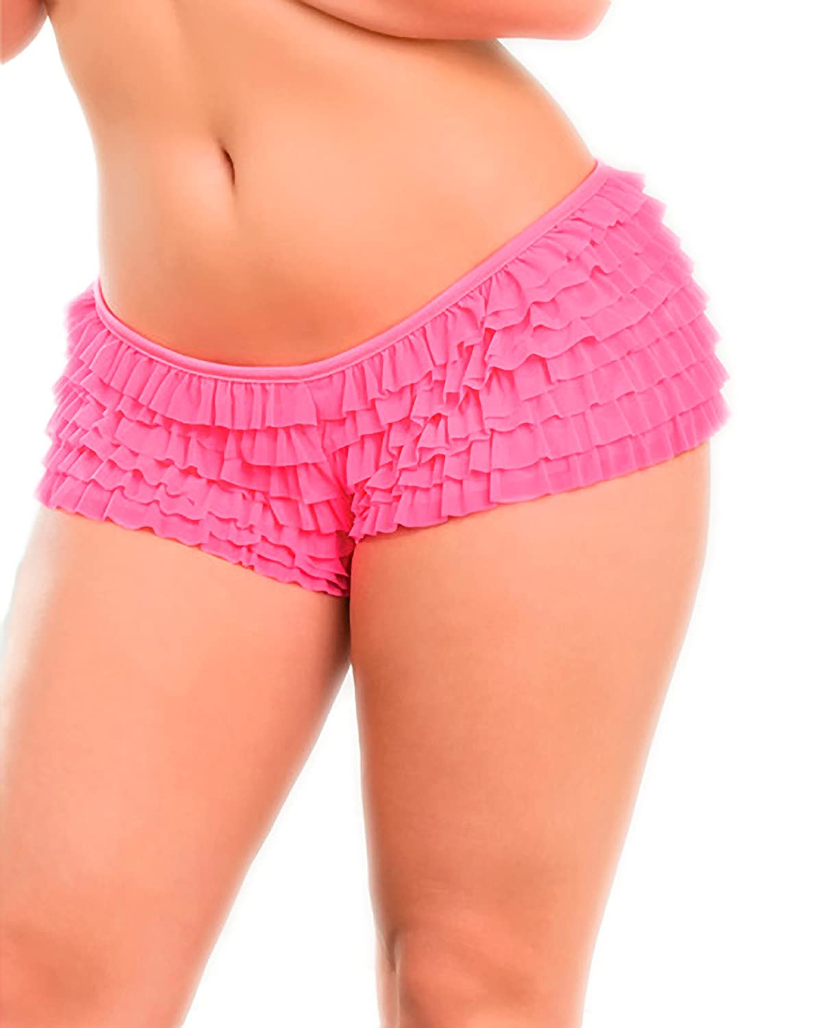 Coquette Ruffle Shorts w/Back Bow Detail Neon Pink - Size X-Large